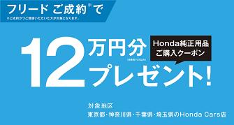 人気のフリード12万円用品ご購入クーポンをプレゼント!